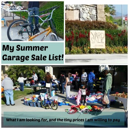 My Summer Garage Sale List