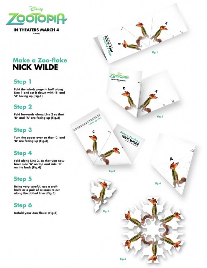 Zootopia nick wilde activity sheet snowflake