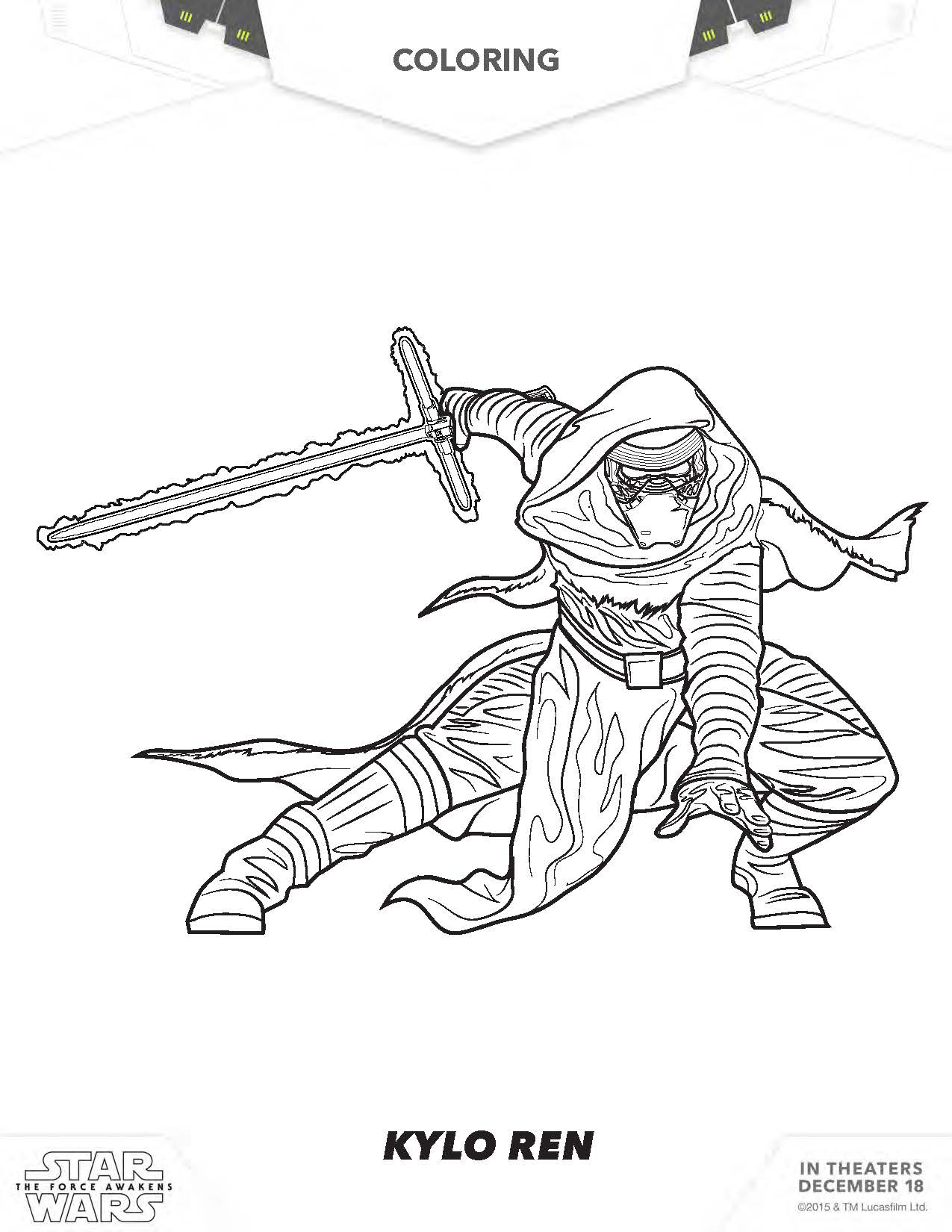 Coloring pages star wars kylo ren - Kylo Ren Coloring Page Star Wars