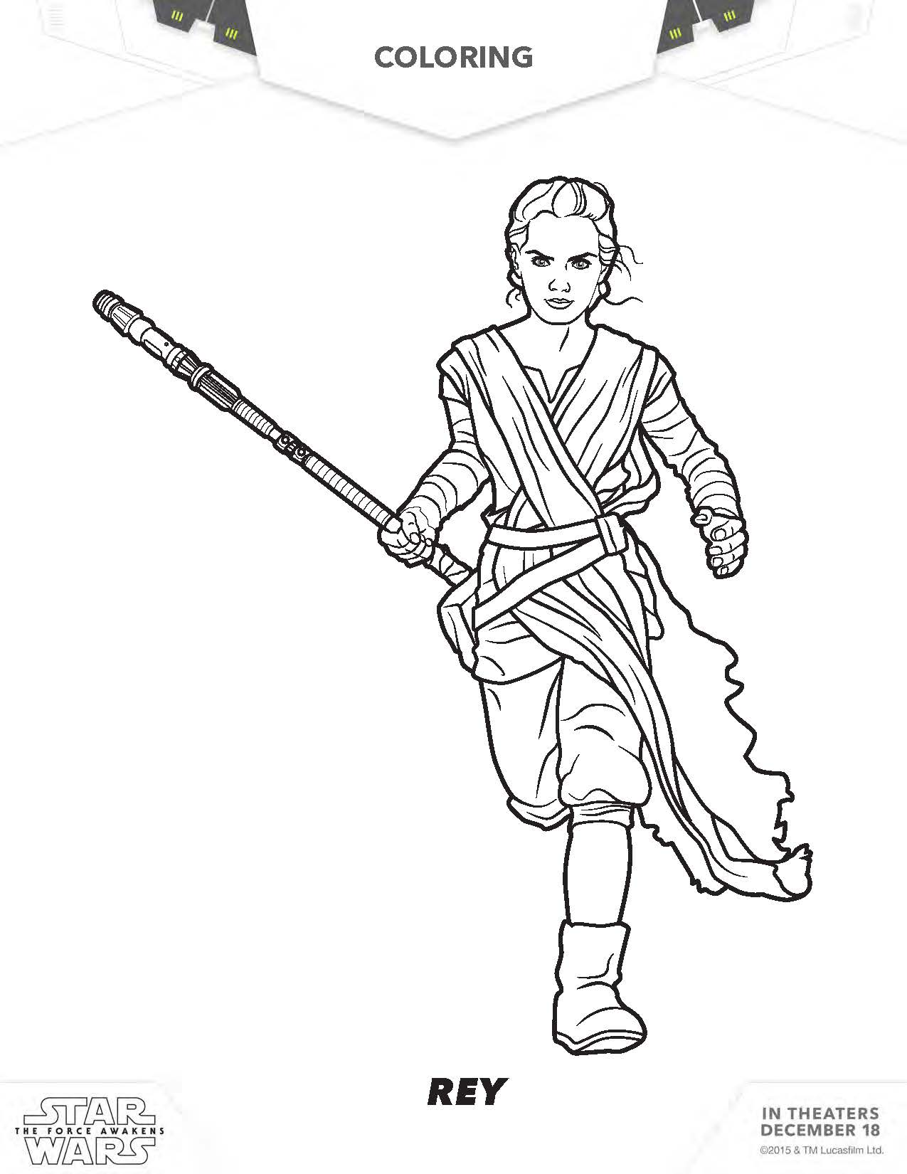 Coloring pages star wars bb8 - Star Wars Rey Coloring Pages
