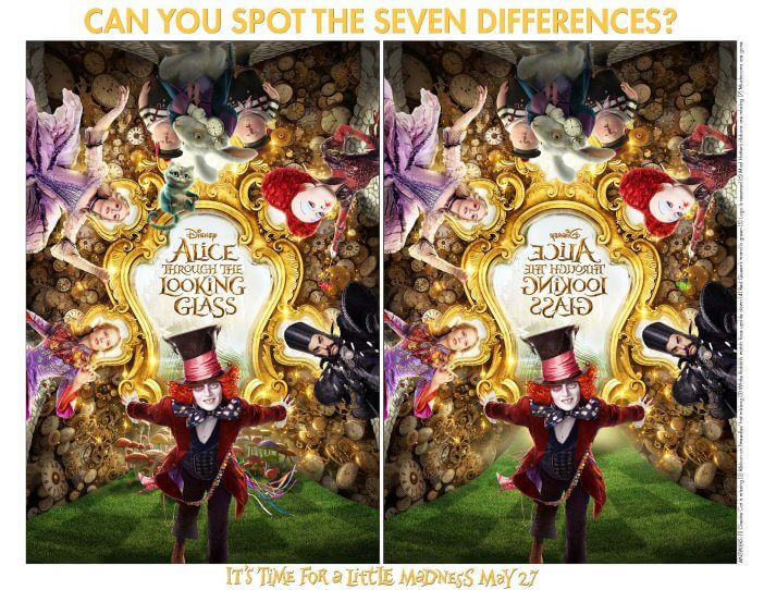 Alice printable spot the difference