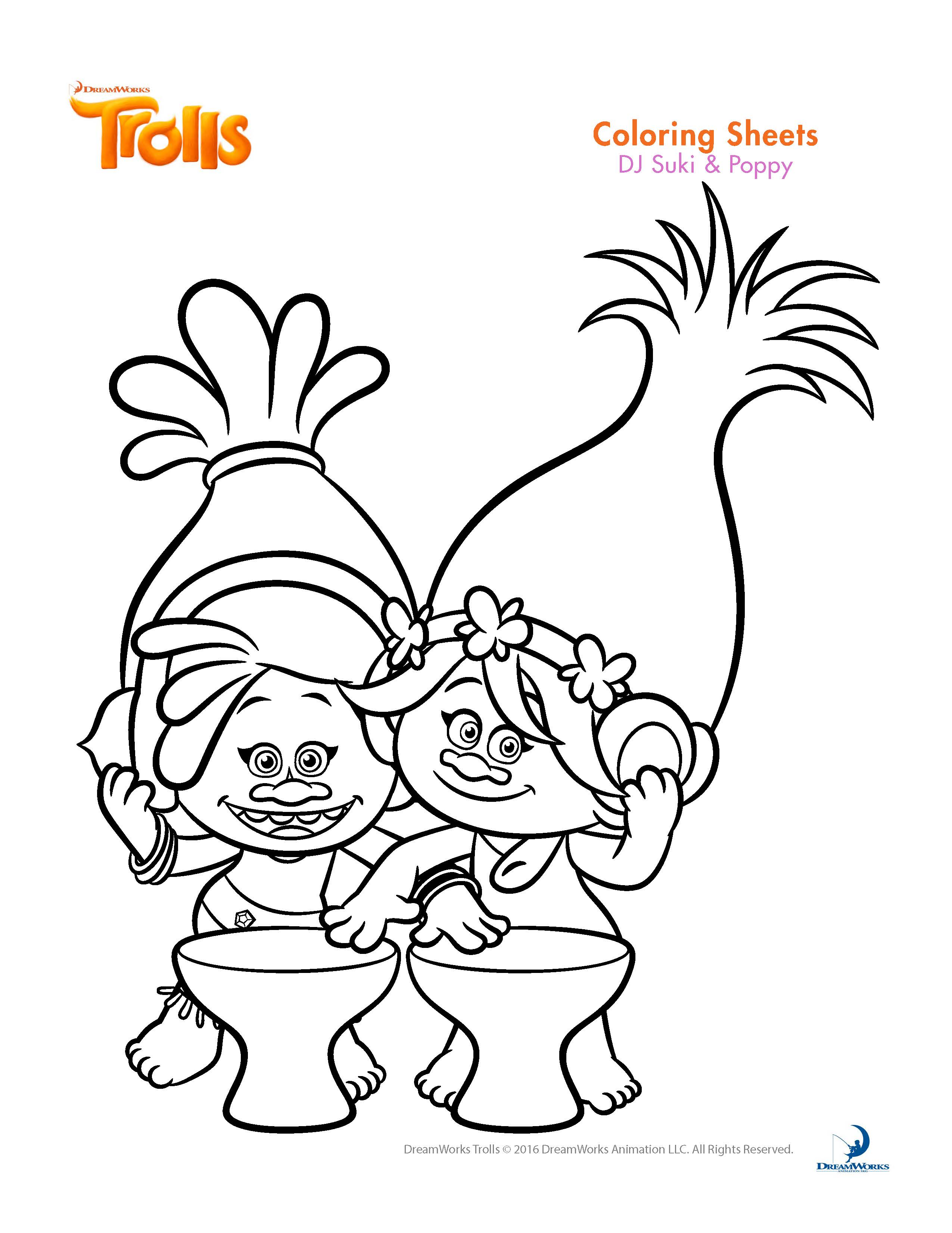 Trolls coloring pages baby poppy - Trolls Coloring Sheet Suki Poppy