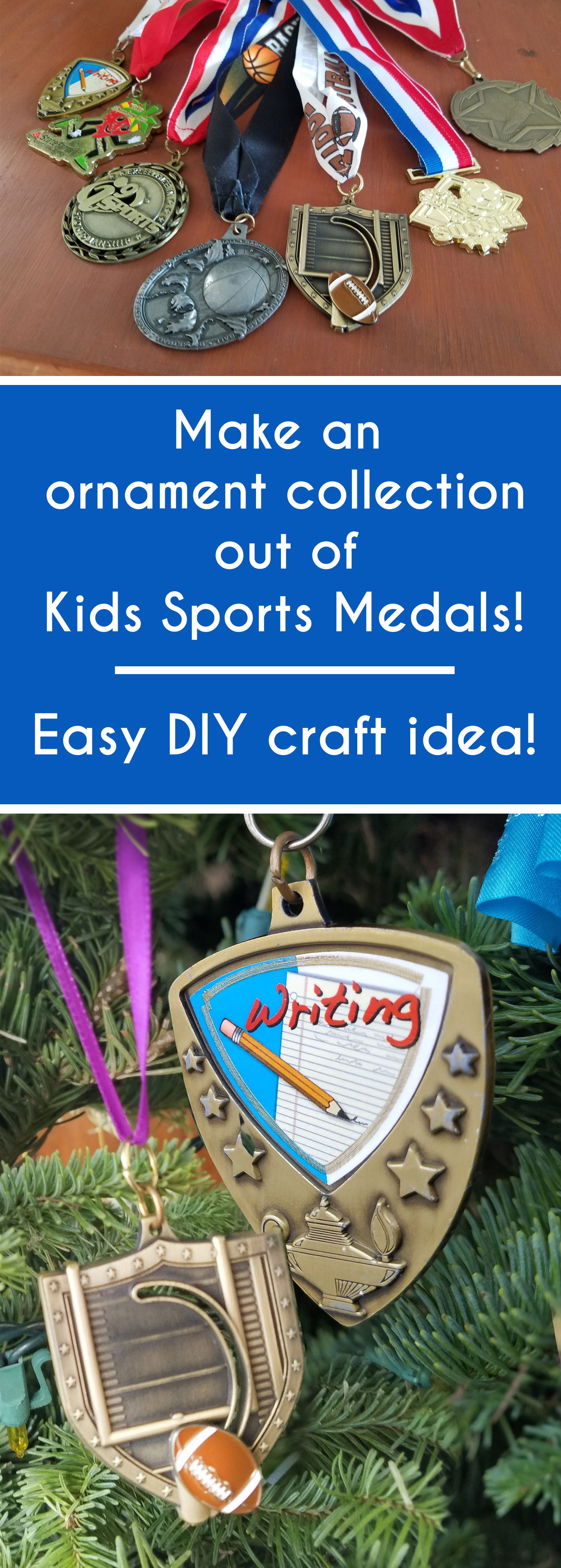 diy ornament out of kids sports medals