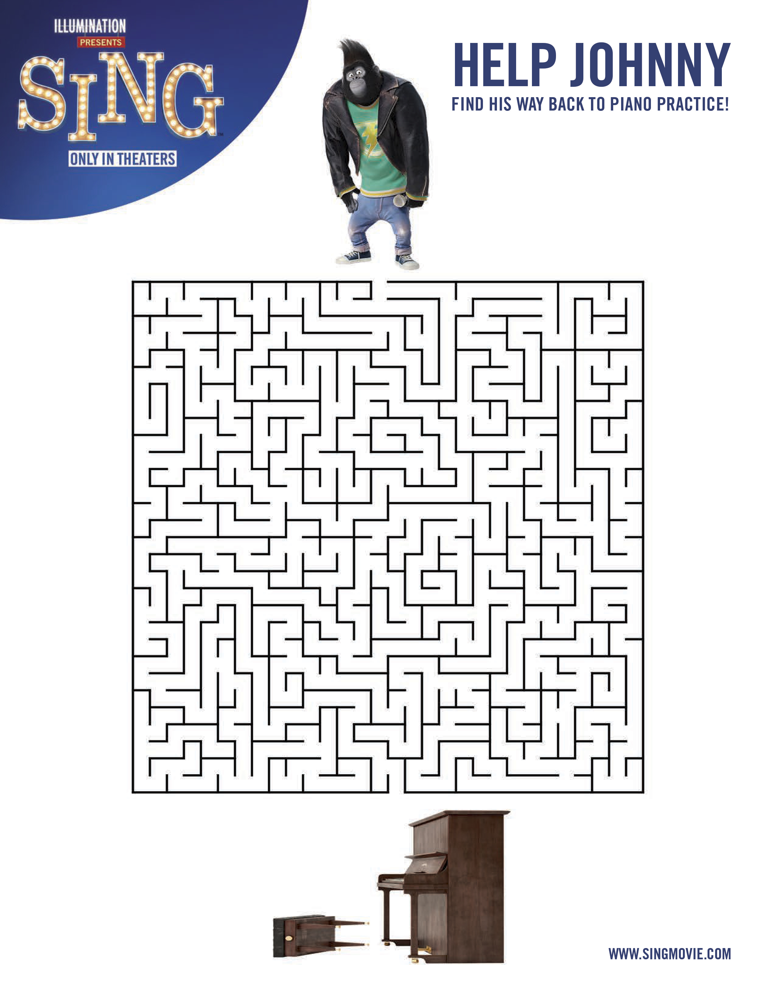 Printable coloring pages sing - Sing Printable Maze