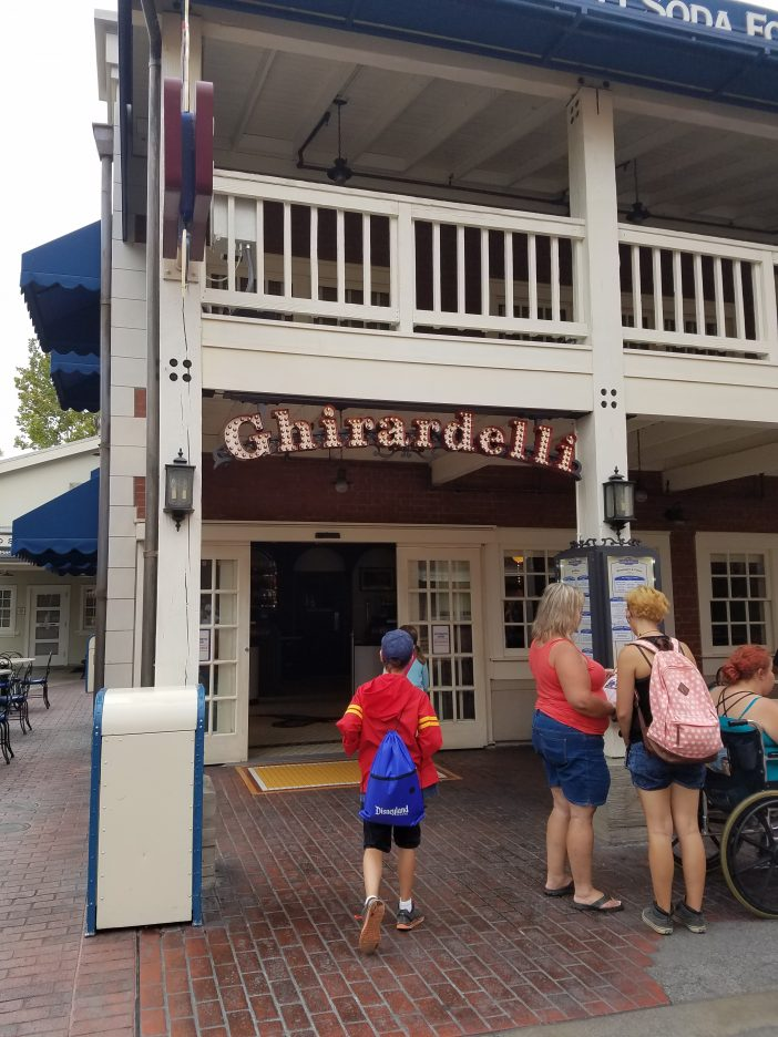 free ghirardelli at Disneyland