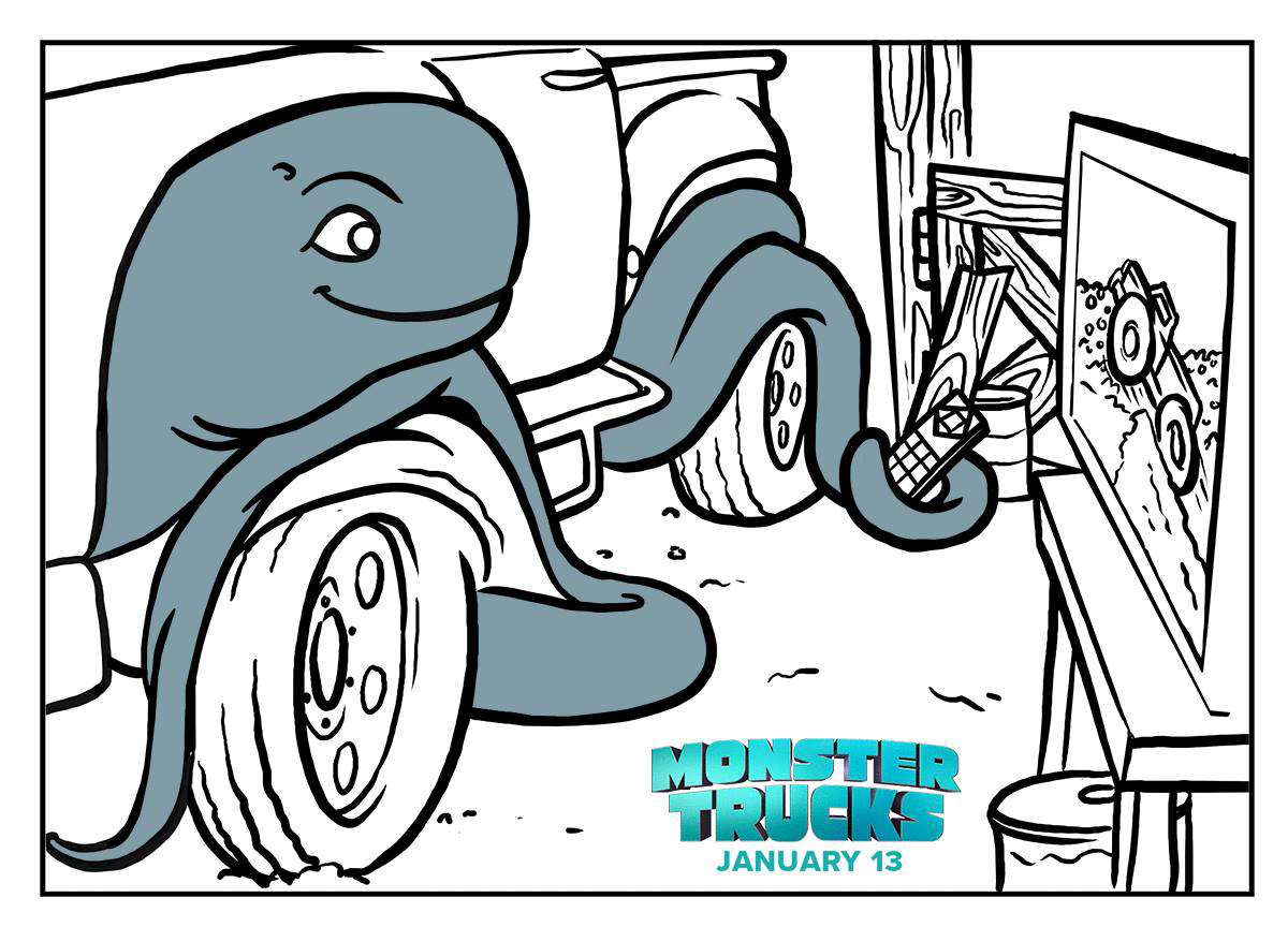 Monster Trucks movie printable coloring and activity sheets