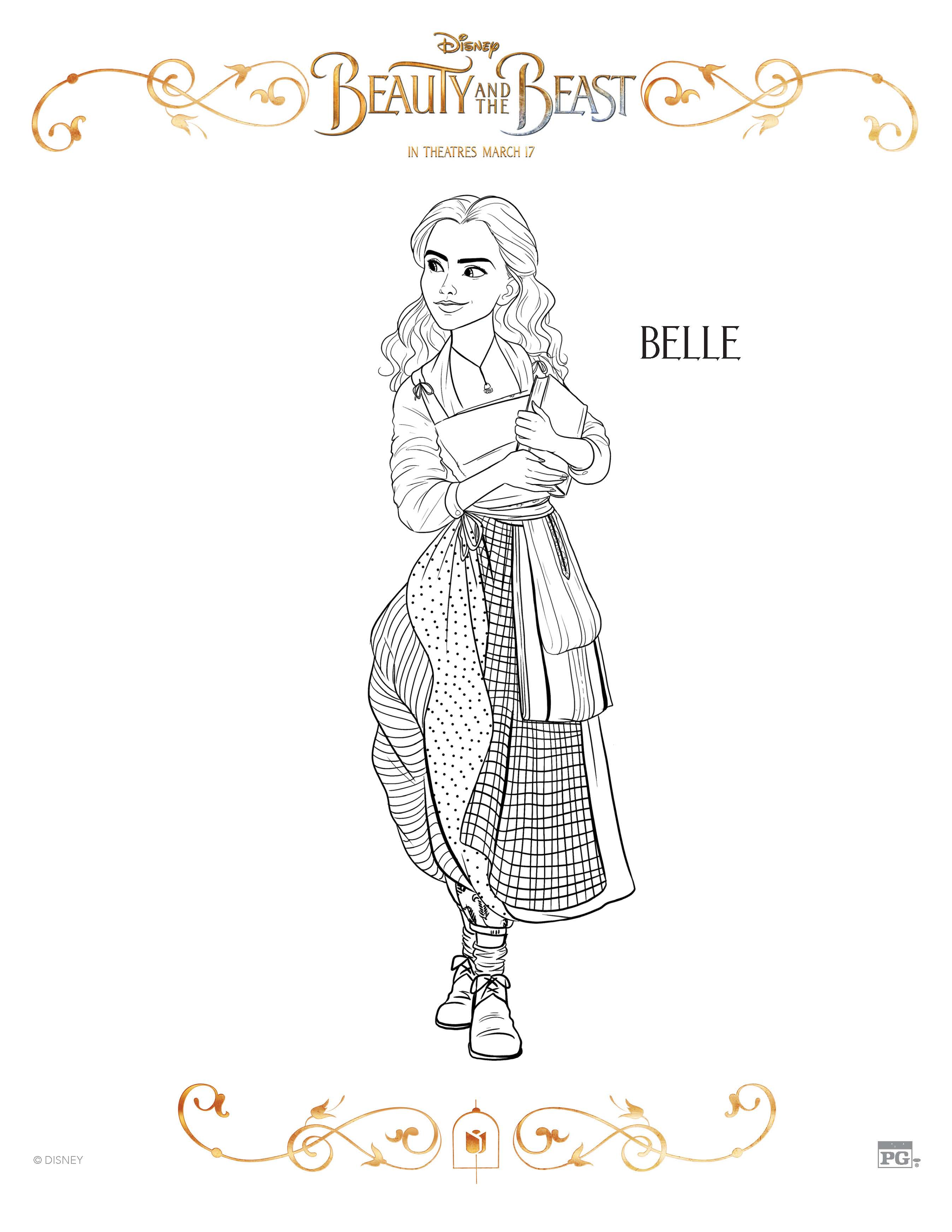 Coloring book pages beauty and the beast - Beauty And The Beast Belle