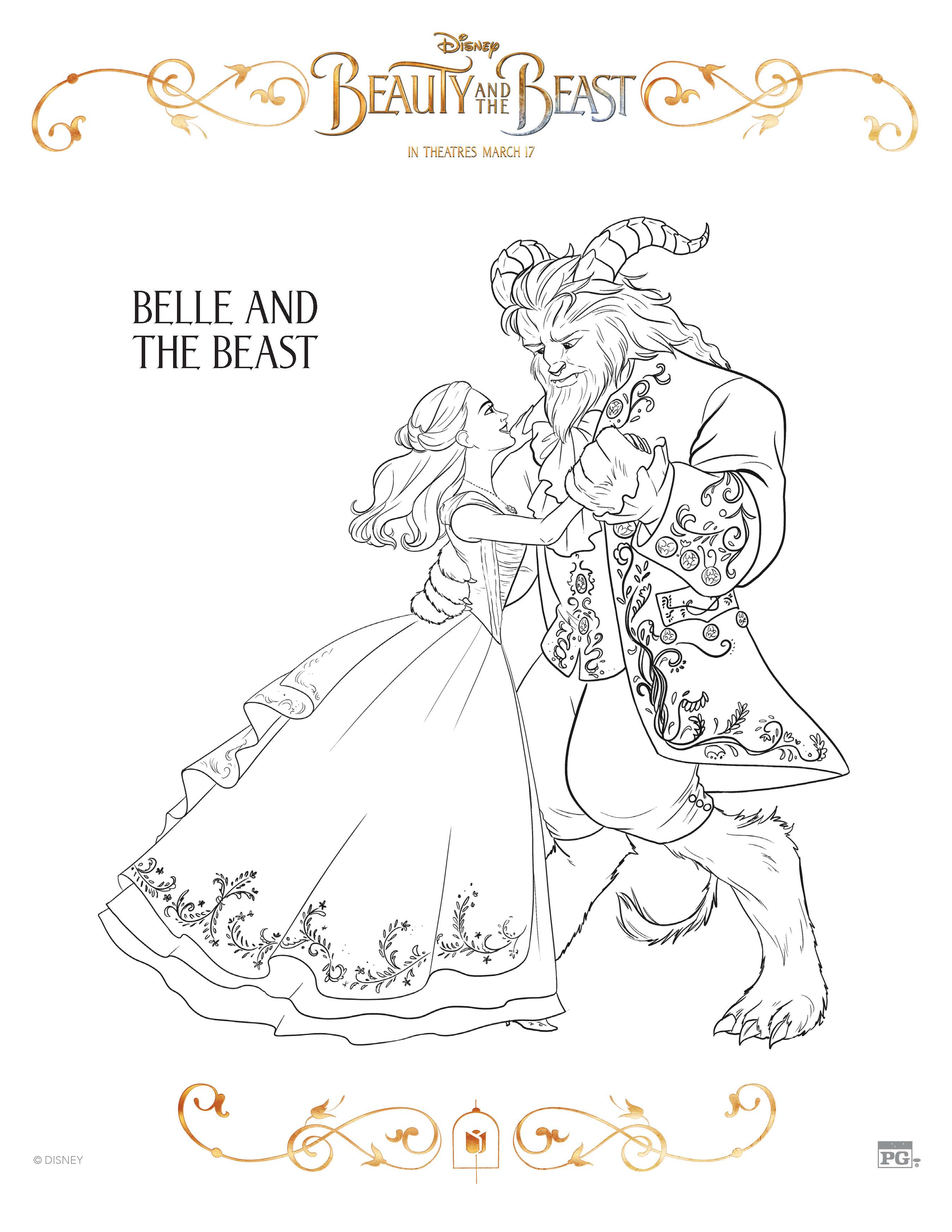 Beauty And The Beast Coloring Sheets Free Printables