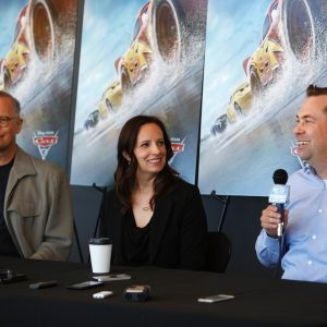 """The """"Cars 3"""" Long Lead Press Days, held at Sonoma Raceway, including presentations by filmmakers, a press conference with (left to right) Producer Kevin Reher, Co-Producer Andrea Warren and Director Brian Fee, and raceway activities, held on March 28, 2017 in Sonoma, Calif. (Photo by Deborah Coleman / Pixar)"""