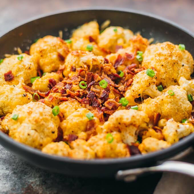 Roasted Cauliflower with Cheese and Bacon