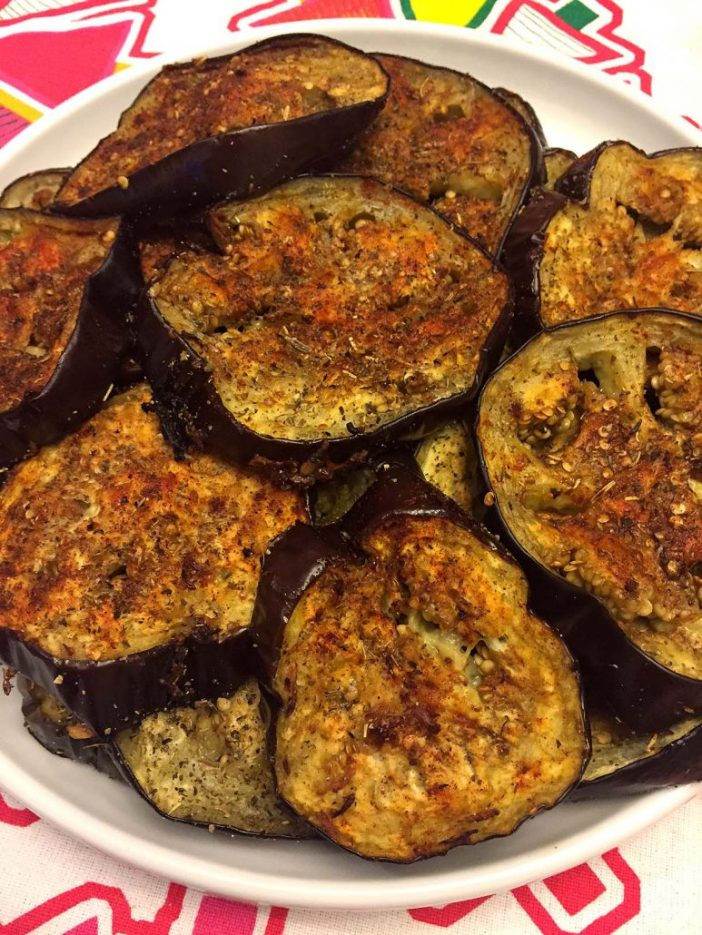 Spicy Garlic Oven Roasted Eggplant Slices Recipe