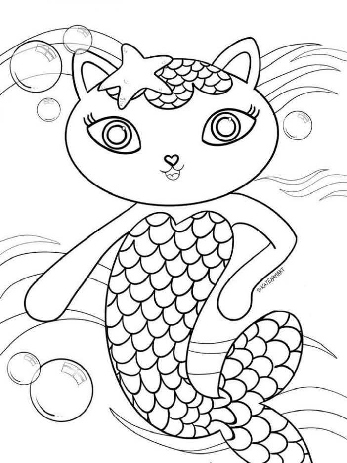 Kitty Cat Mermaid Gabby's Dollhouse printable coloring sheet