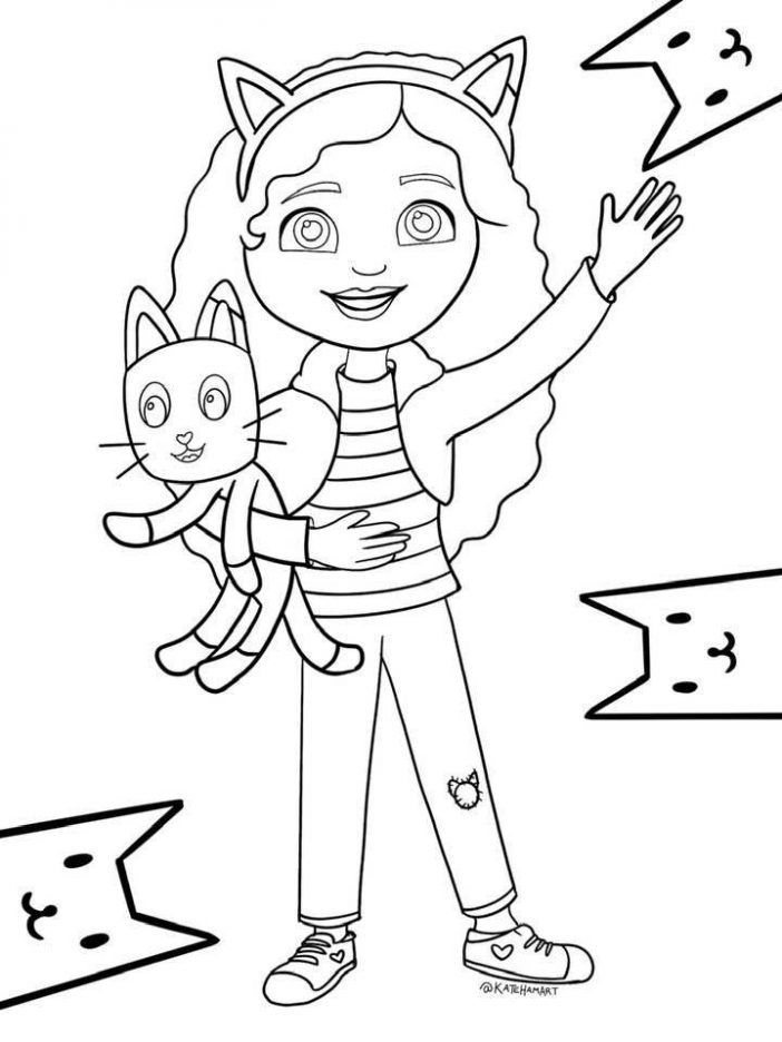 Gabbys Dollhouse printable coloring sheet Gabby