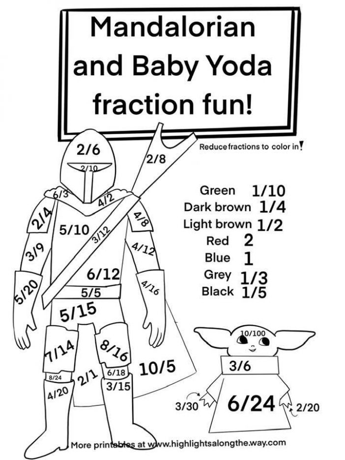 reducing fraction color by number sheet with baby yoda and the mandalorian