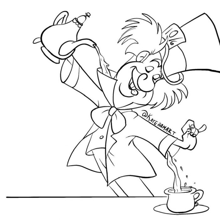 mad hatter coloring sheet pouring tea