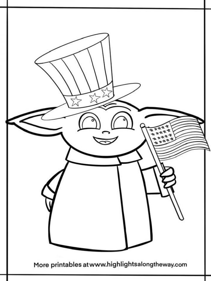 Baby Yoda patriotic america fourth of july coloring page