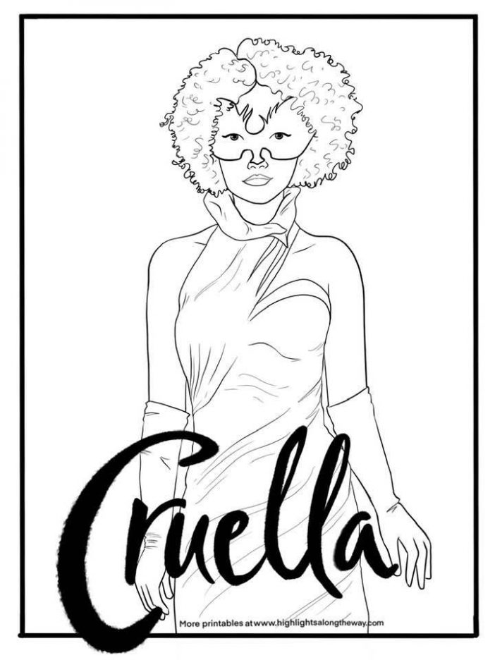 Cruella Devil live action disney coloring sheets emma stone