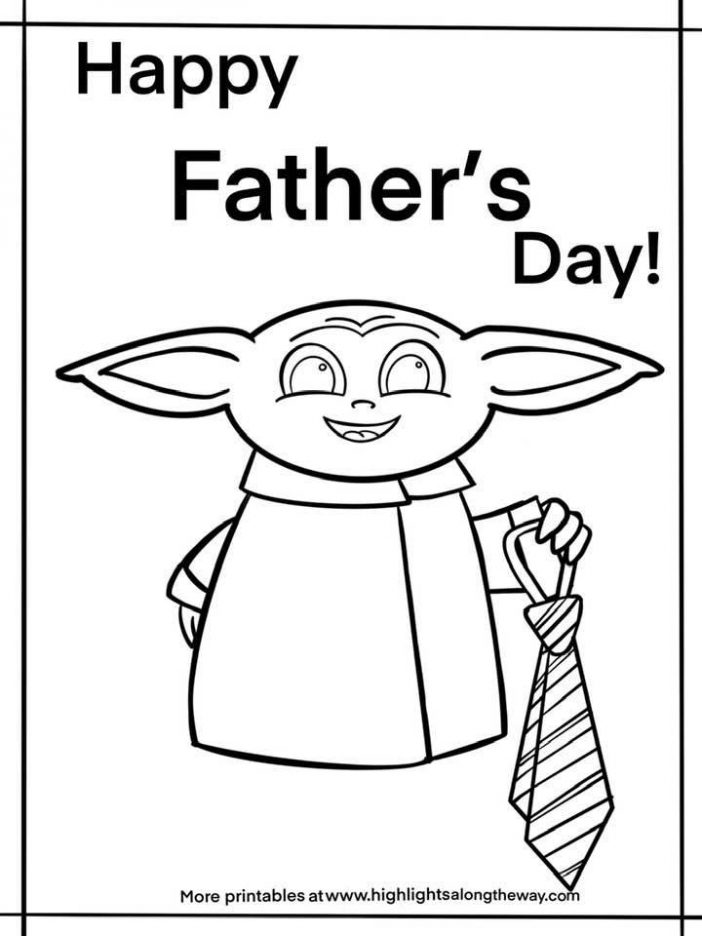 Happy Father's Day Baby Yoda coloring sheet. Grogu holding a tie