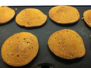 Wheat pancakes flipped over