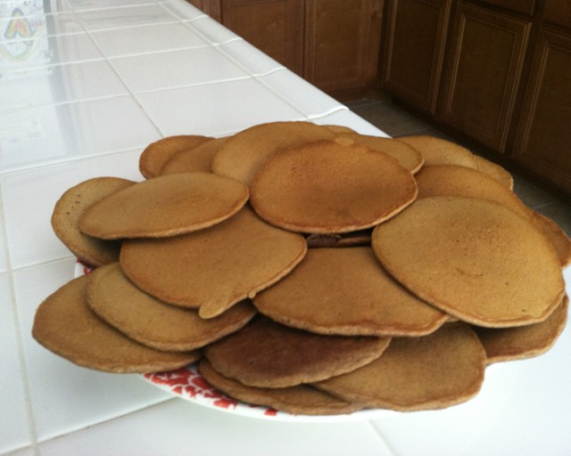 Pile of wheat pancakes