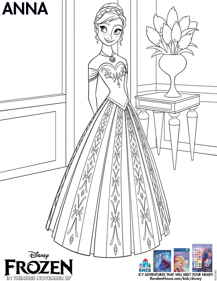 Disneys frozen printable anna coloring sheet