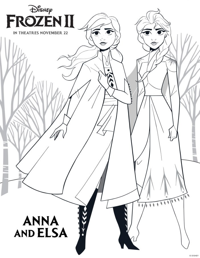 Anna and Elsa Frozen 2 coloring sheets high resolution