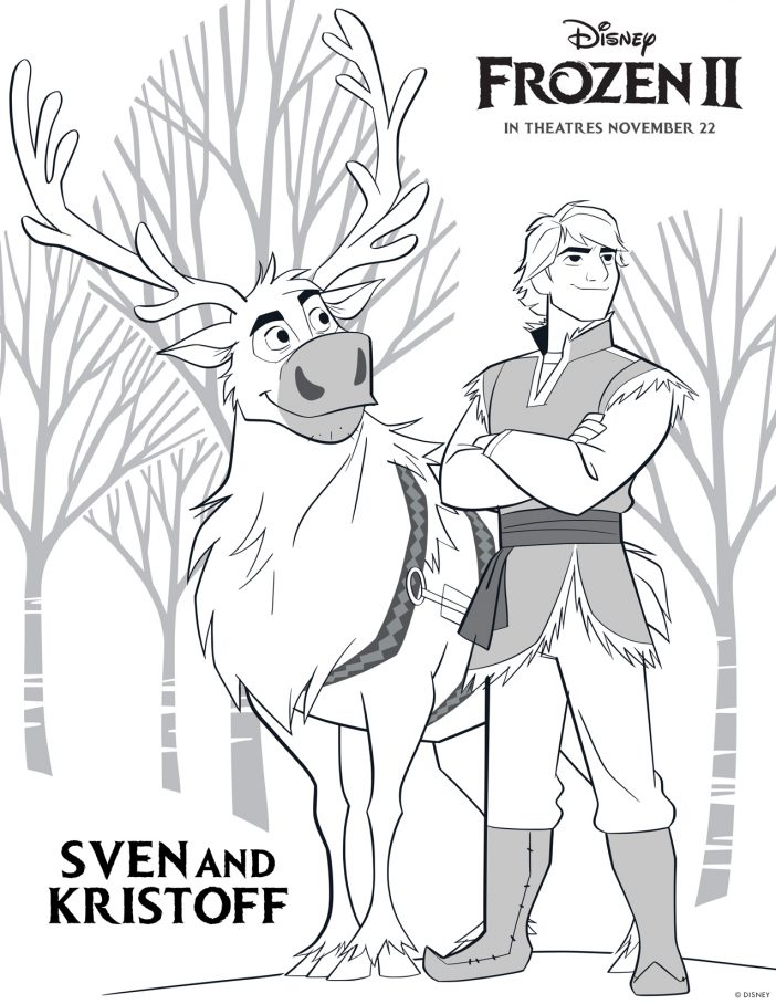 Sven and Kristoff Frozen 2 printable coloring sheets high resolution free