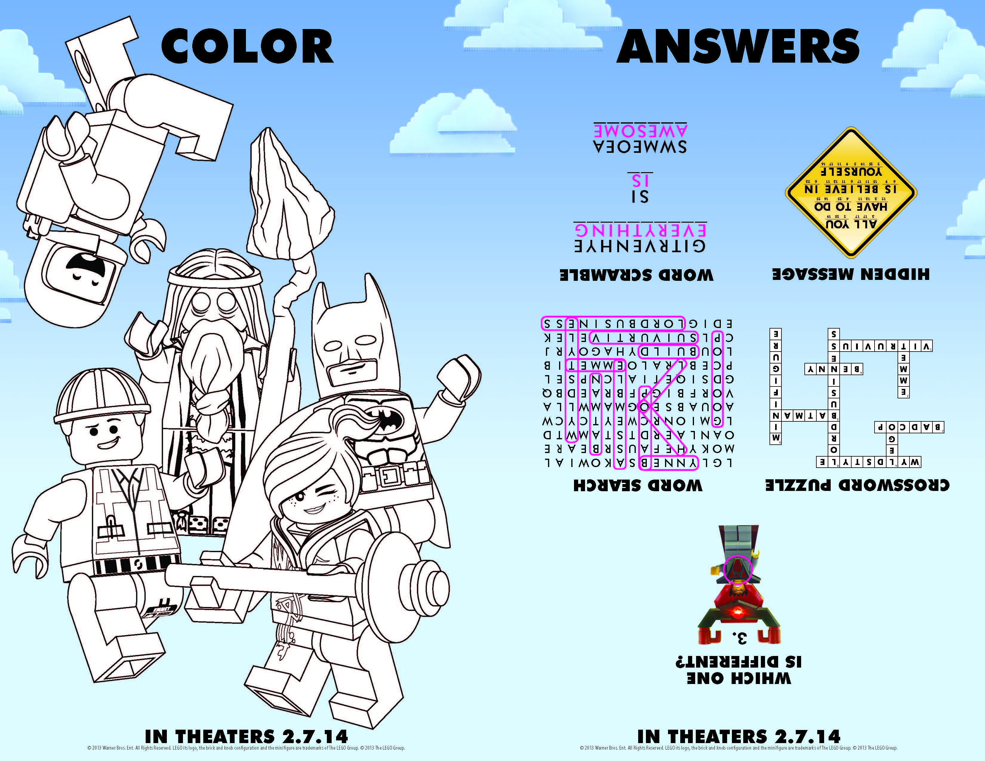 The LEGO Movie Printables activity