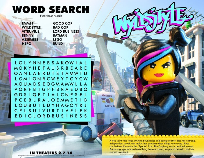 Lego movie printables word search