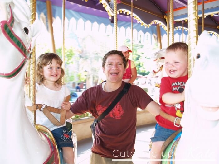 two year olds on the carousel