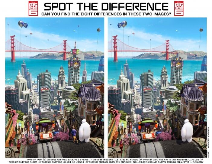 big hero 6 printables spot the difference