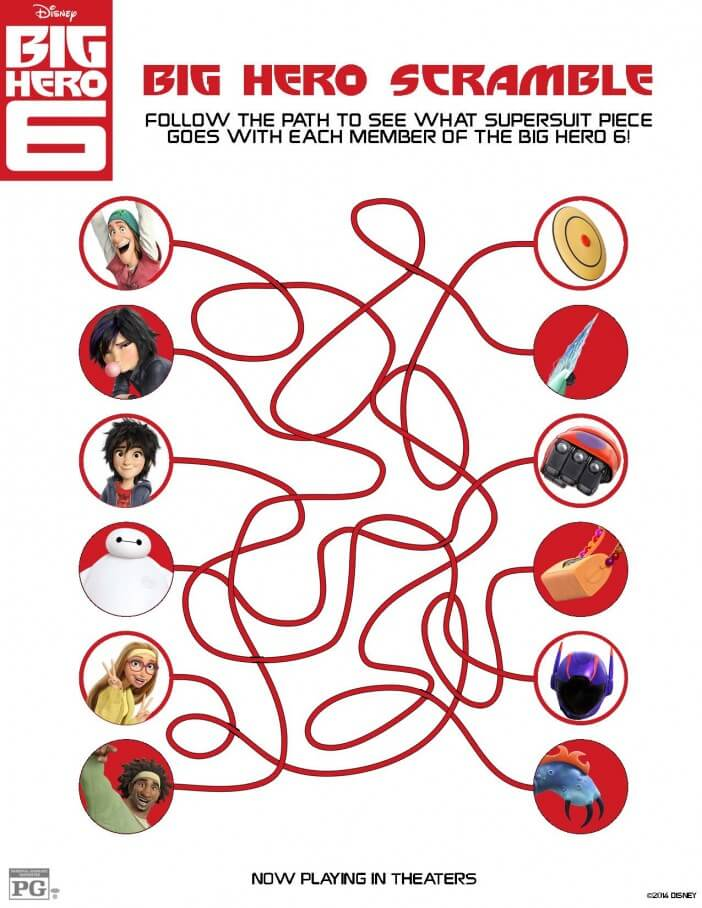 Big Hero 6 coloring pages and activity sheet