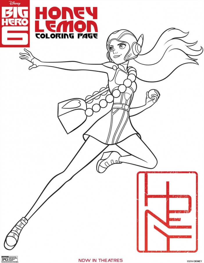 Big Hero 6 coloring pages, honey lemon