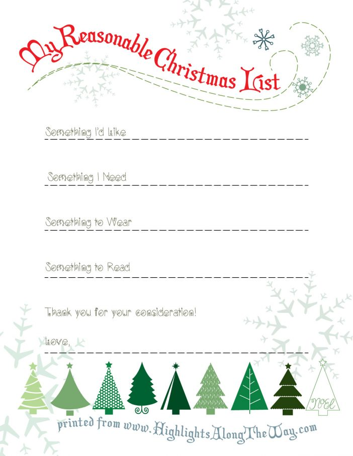 free christmas list printable