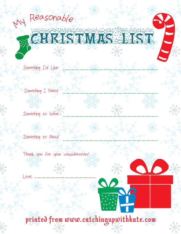 christmas printable list