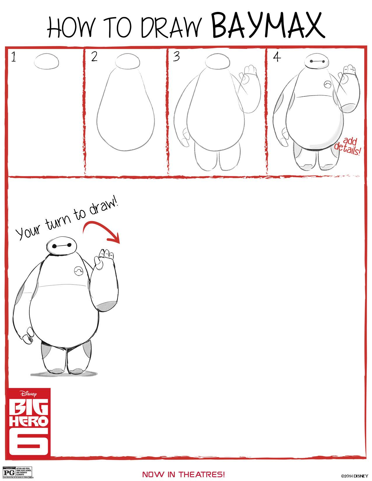 How to Draw Baymax – free printable