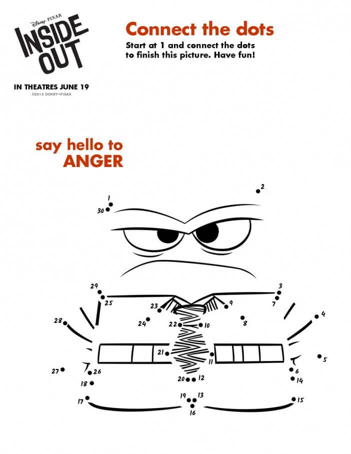 Inside Out printable activity anger