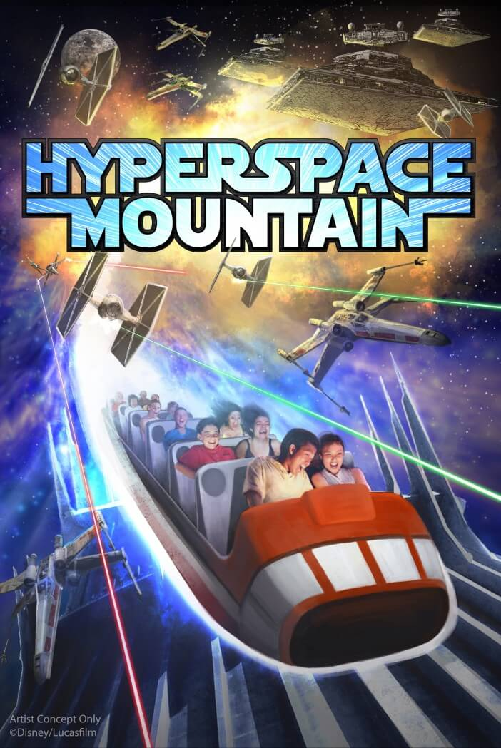 HYPERSPACE MOUNTAIN -- In Tomorrowland at Disneyland park, guests will explore the Star Wars galaxy with special entertainment throughout the land, themed food locations and more. Guests also will be thrilled to climb aboard Hyperspace Mountain, a reimagining of the classic Space Mountain attraction, in which guests will join an X-wing Starfighter battle. At Disney's Hollywood Studios, guests will close out weekend nights with a new fireworks spectacular set to the iconic score of the Star Wars movies. (Disney Parks)