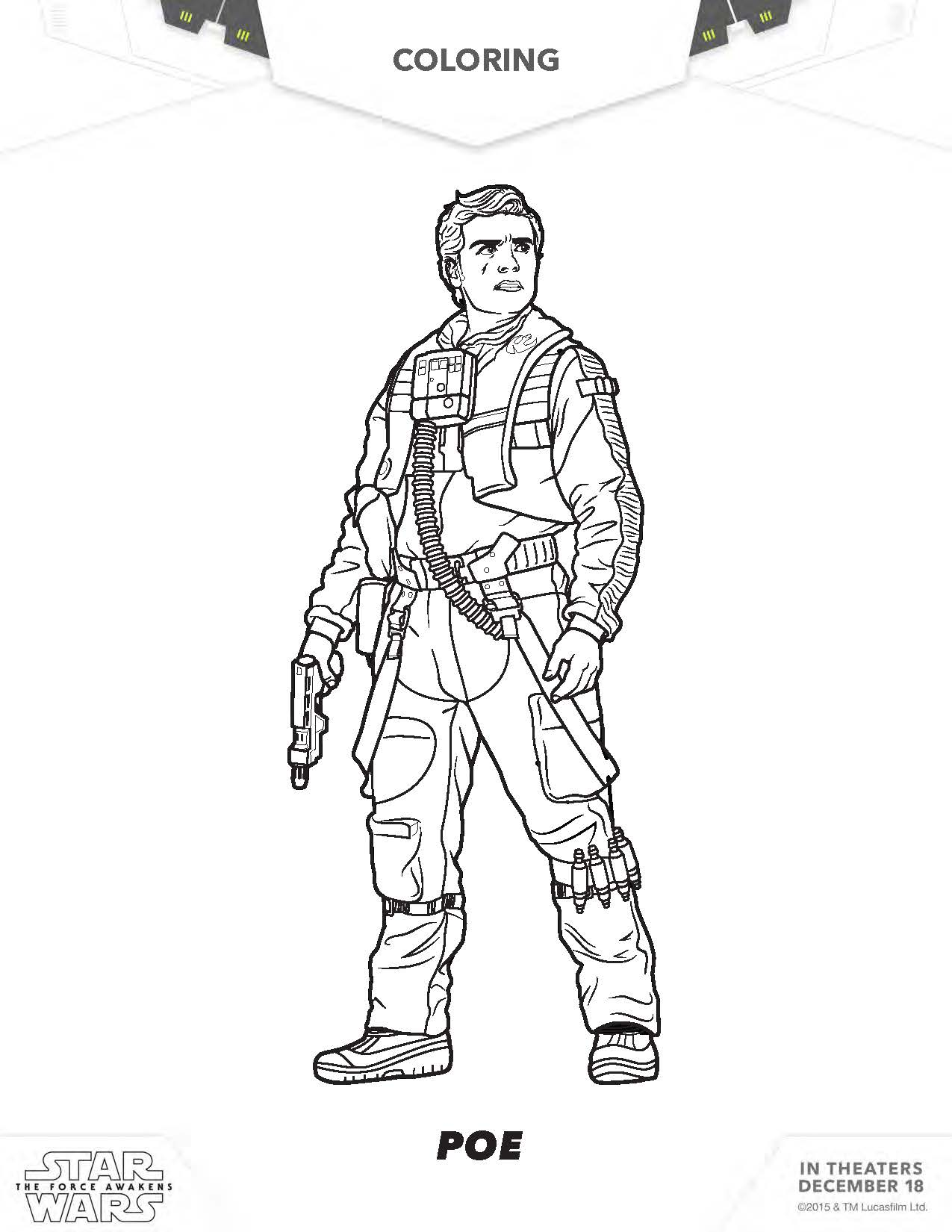 Star Wars Rey Coloring Pages Poe