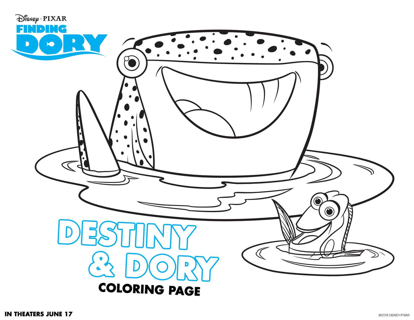Finding Dory coloring sheets - Highlights Along the Way