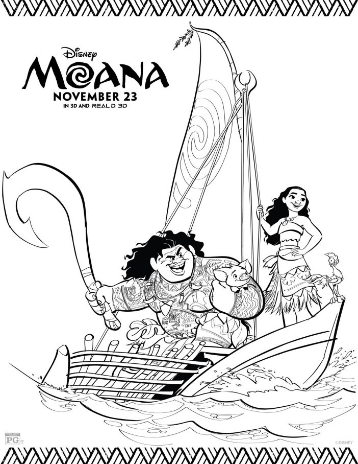 Disney Moana Moana coloring pages & Maui coloring pages