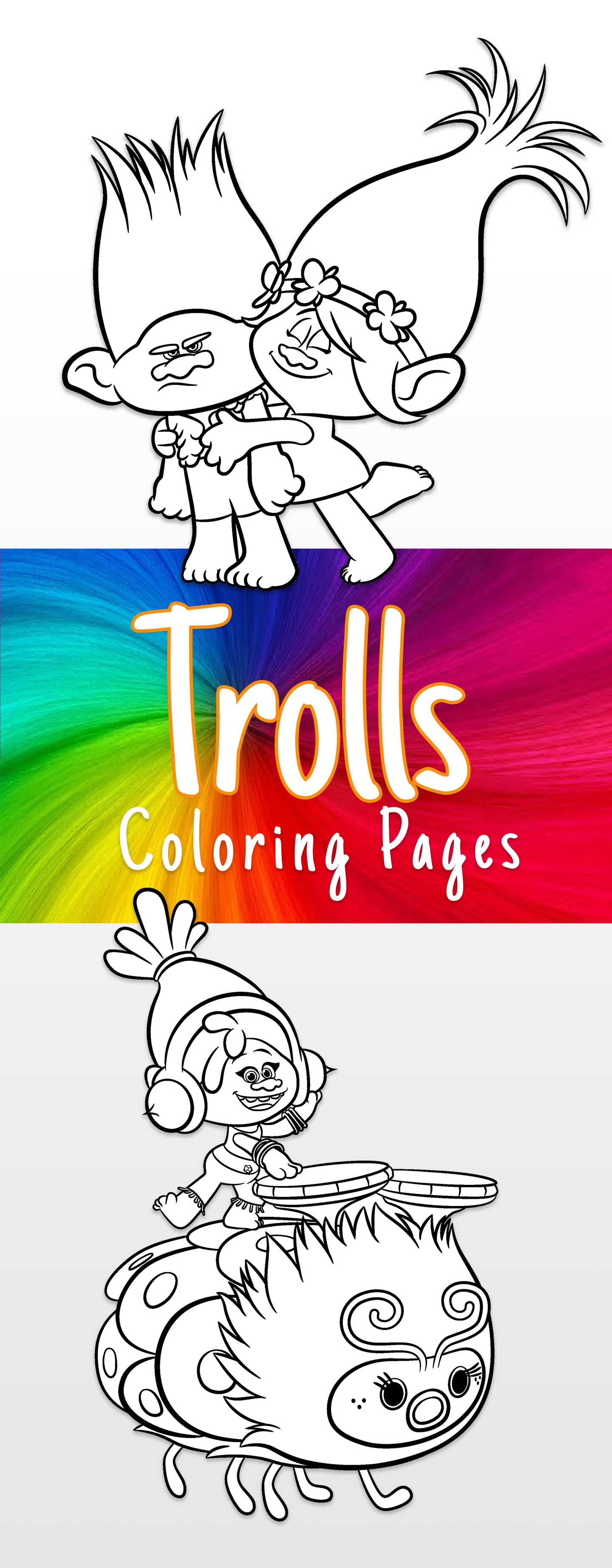 Trolls coloring sheets and printable