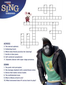 sing printable crossword