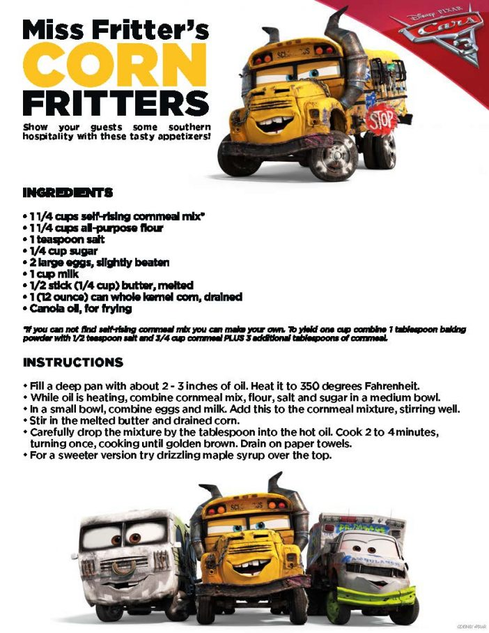 Cars 3 fritters recipe