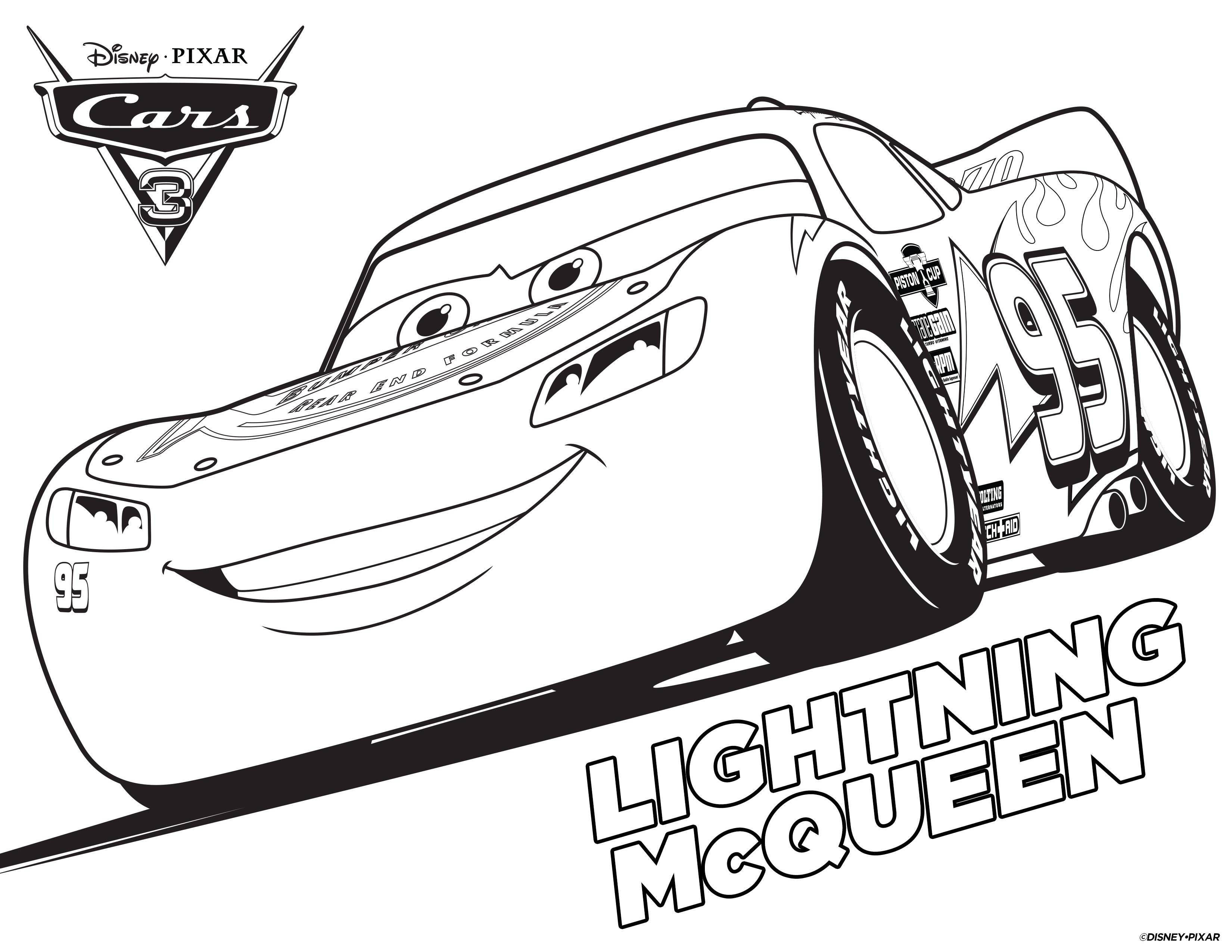 Cars 3 Lightning Mcqueen Coloring Page Pages