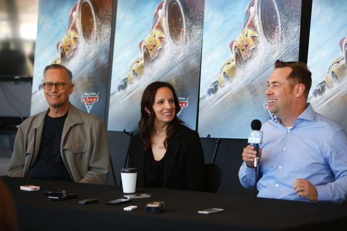 "The ""Cars 3"" Long Lead Press Days, held at Sonoma Raceway, including presentations by filmmakers, a press conference with (left to right) Producer Kevin Reher, Co-Producer Andrea Warren and Director Brian Fee, and raceway activities, held on March 28, 2017 in Sonoma, Calif. (Photo by Deborah Coleman / Pixar)"