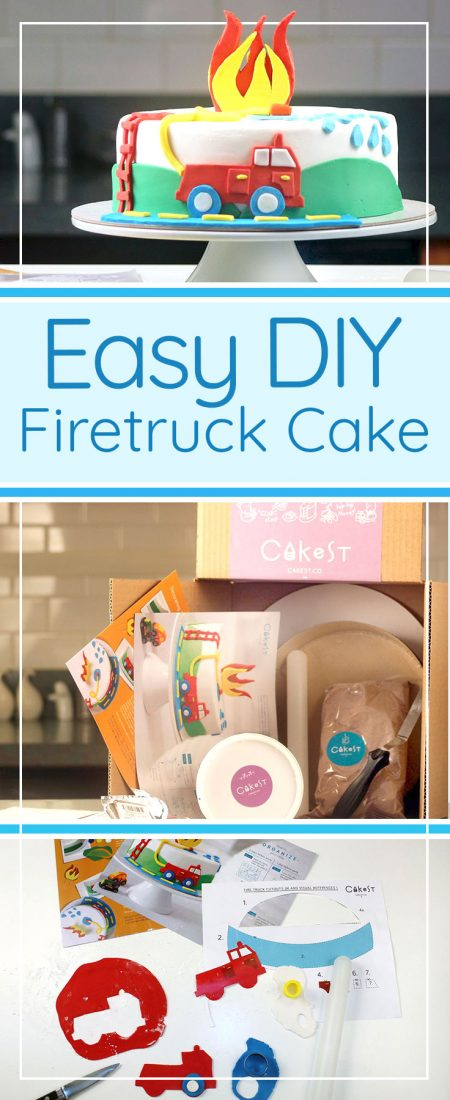 DIY easy fire truck cake