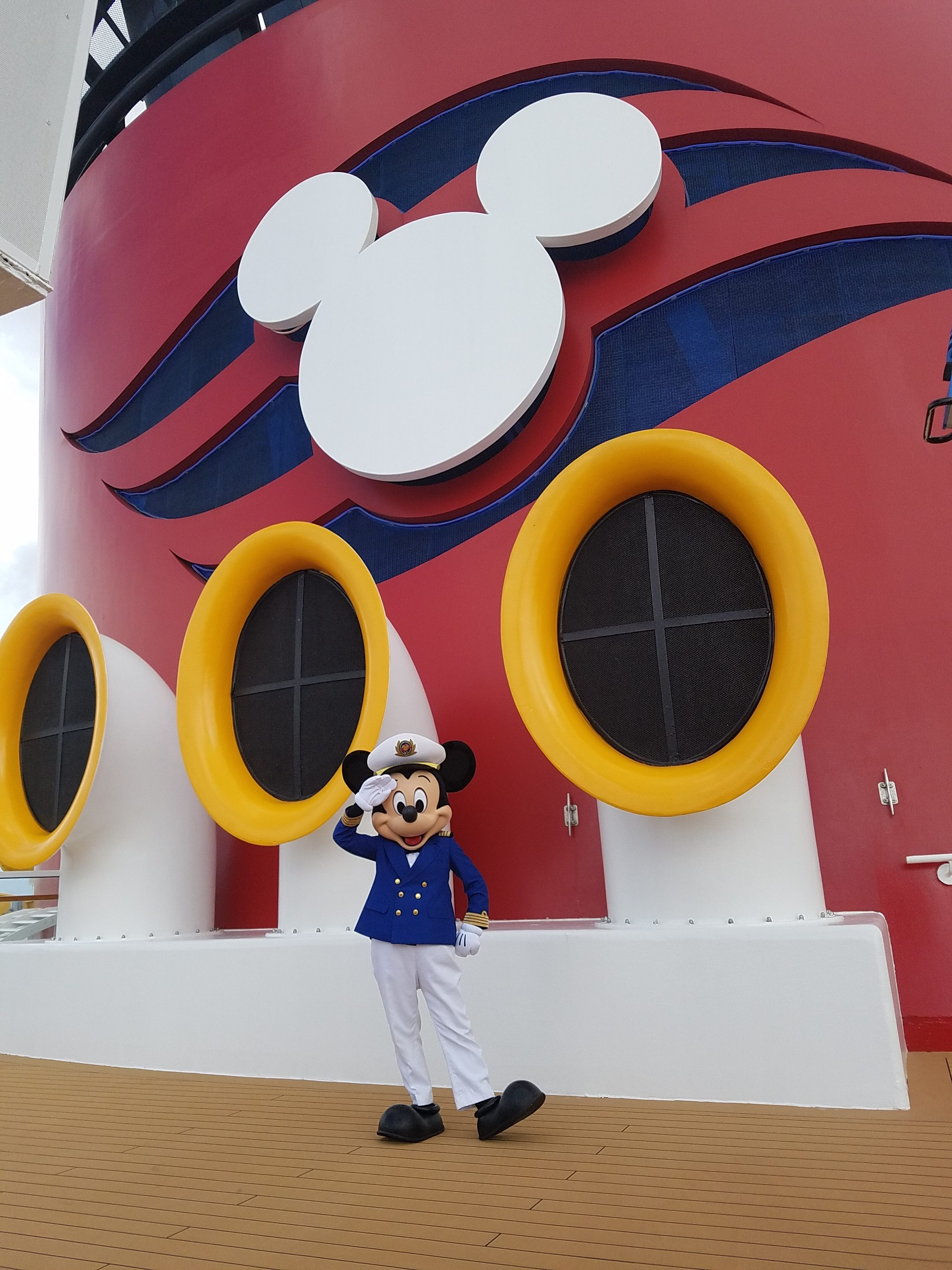 Mickey Mouse as the captain of the Disney Wonder