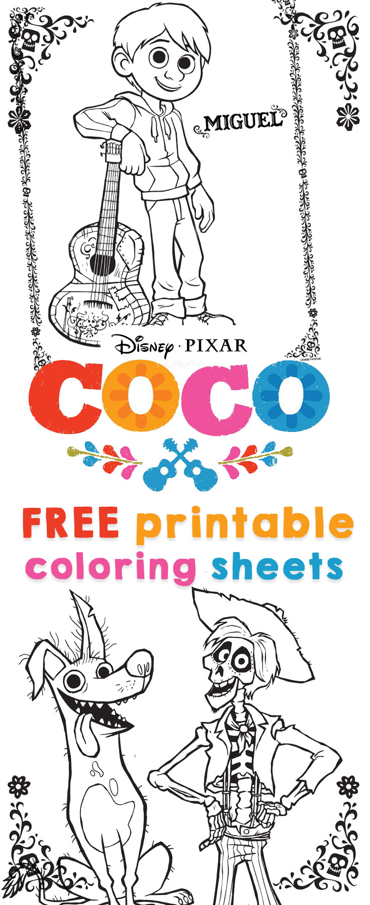 COCO Coloring sheets and activity sheets from Disney Pixar!