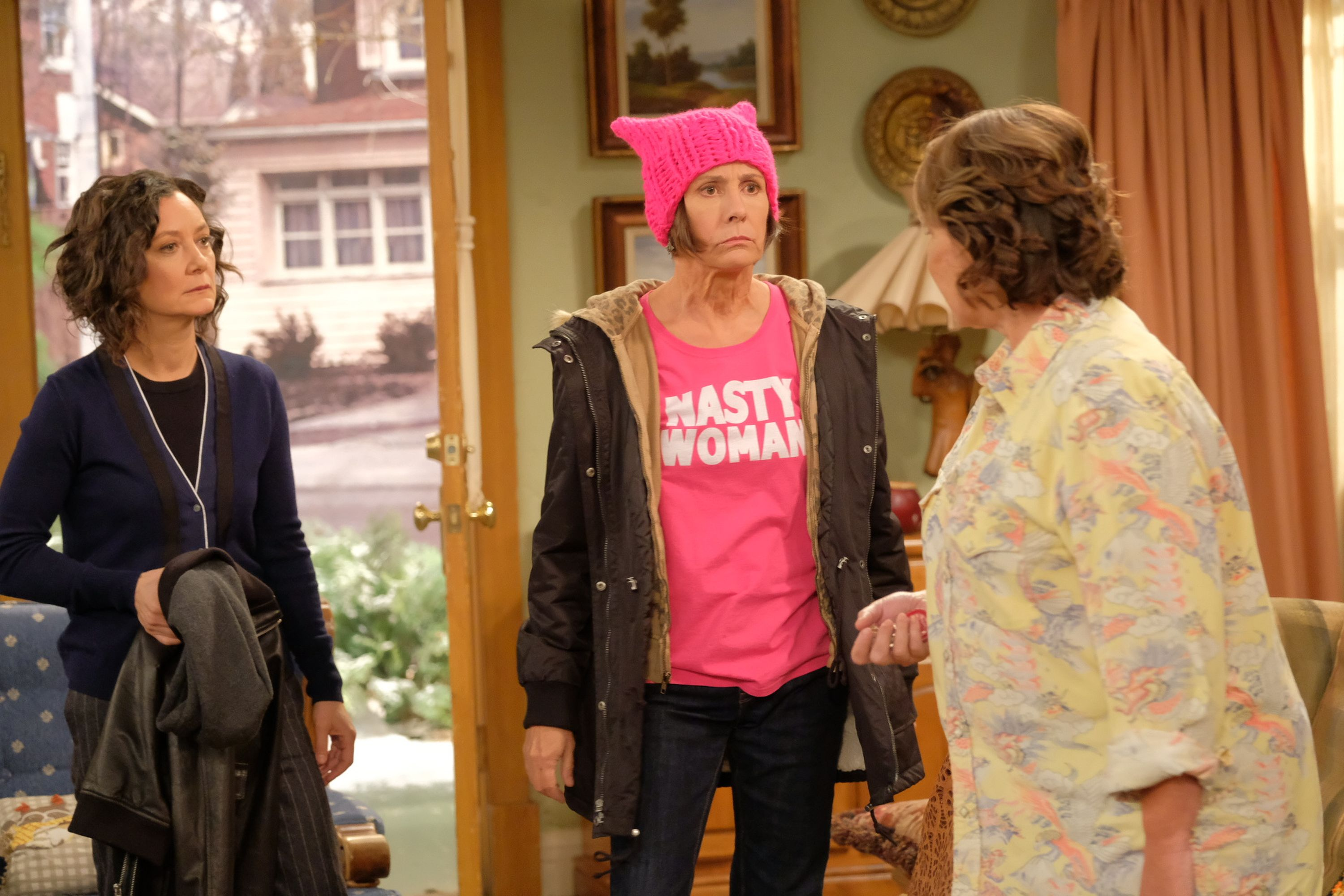 Aunt Jackie Women's March Nasty Woman shirt on new Roseanne